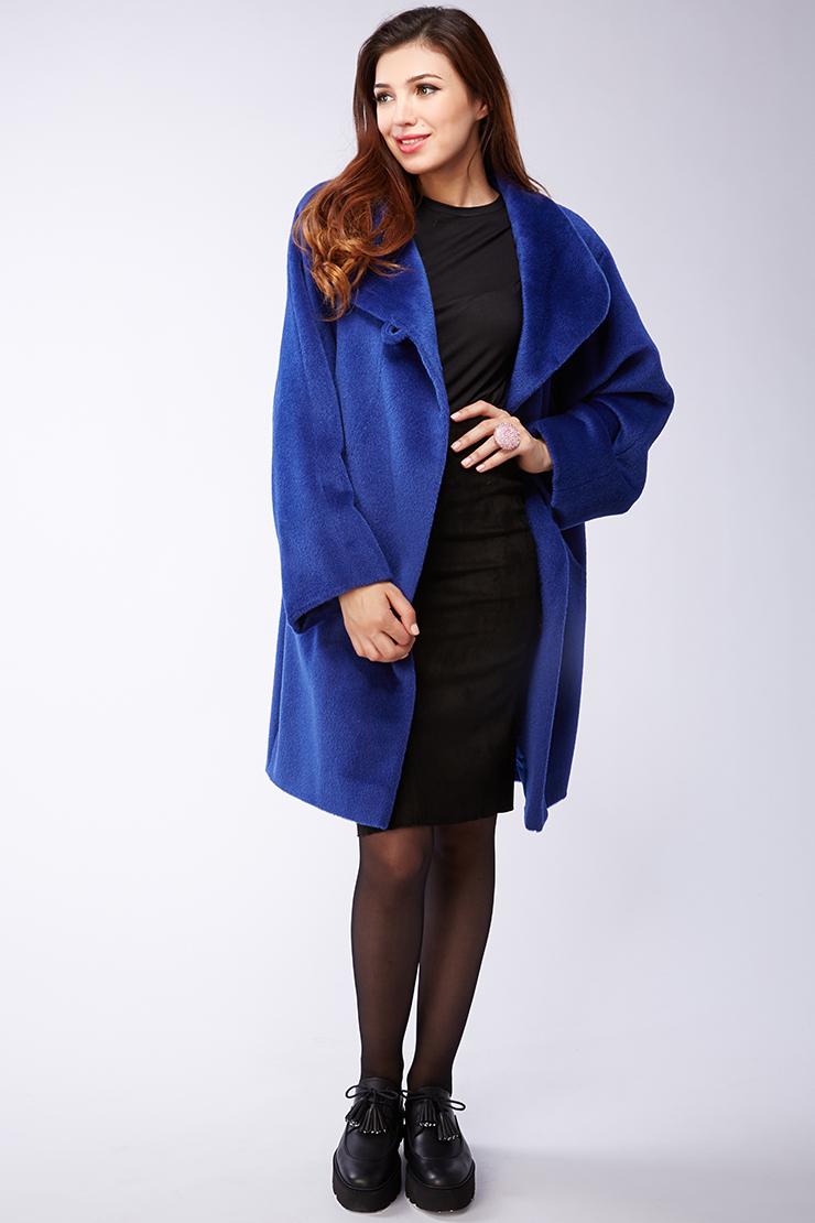 Ярко-синее женское пальто из альпака. Производитель: Leoni Bourget, артикул: 21969