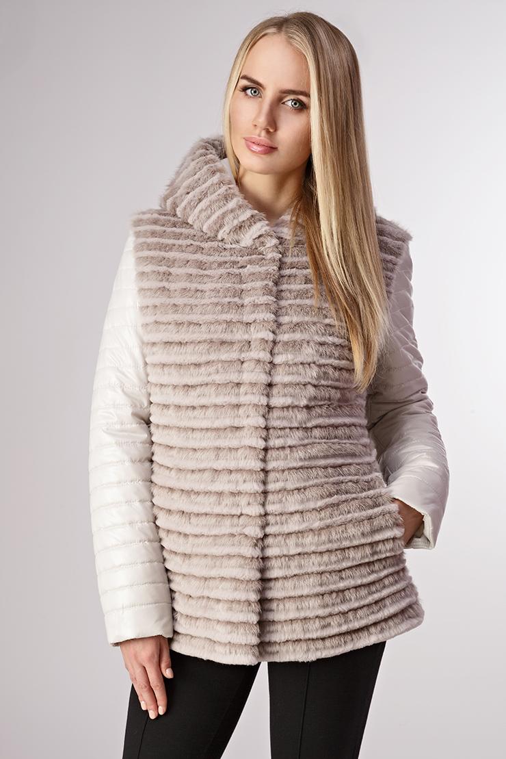 Зимняя женская куртка на синтепоне с мехомКуртки<br>Зимняя женская куртка на синтепоне с мехом<br>Цвет: бежевый; Размер: 44, 46; Состав: 100%нейлон; подкладка - 100%нейлон; утеплитель - синтепон; отделка-кролик+норка; Материал: 100%нейлон; подкладка - 100%нейлон; утеплитель - синтепон; отделка-кролик+норка;