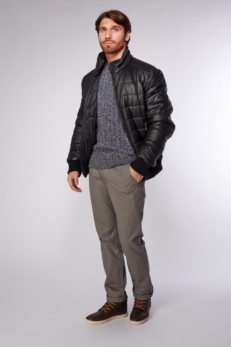 Мужская кожаная куртка черная AFG на синтепоне фото