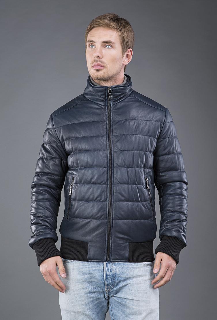 Купить со скидкой Мужская кожаная куртка на синтепоне