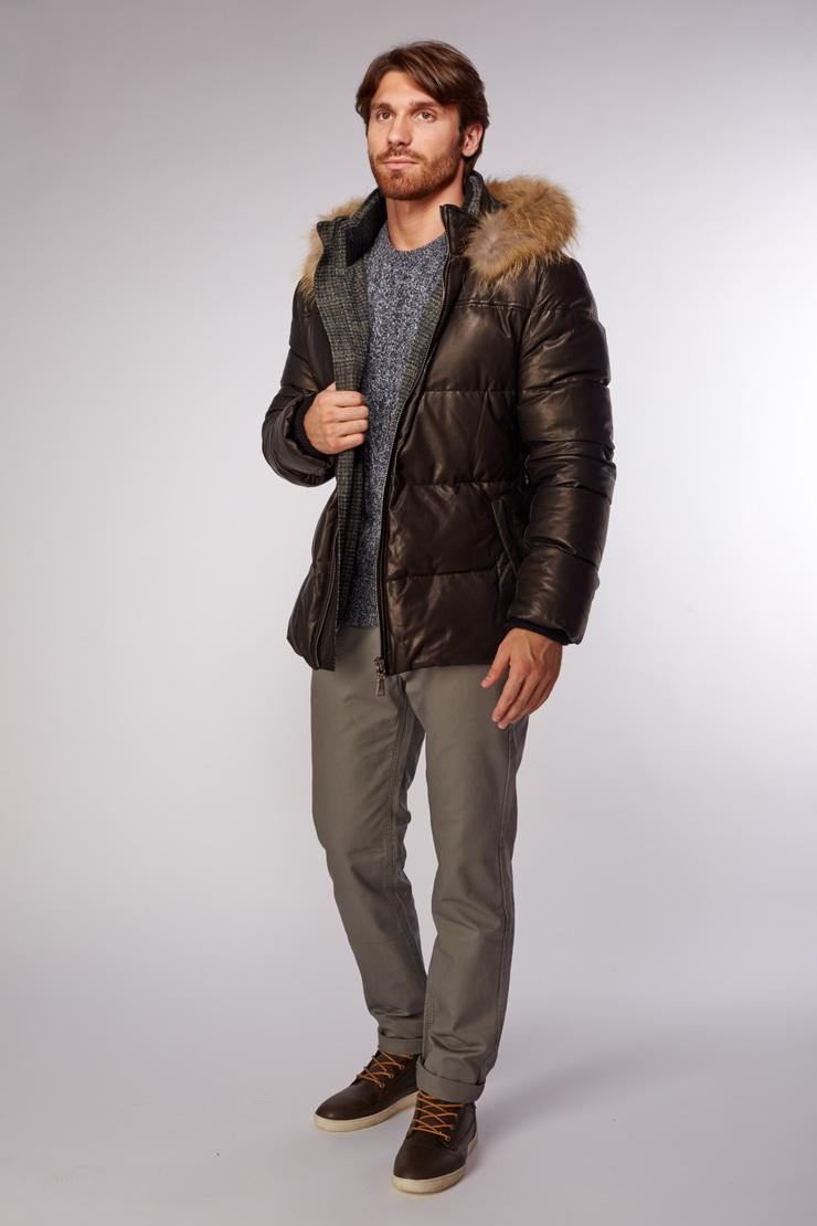 Зимняя мужская кожаная куртка AFG с мехом P4531/L64-черный