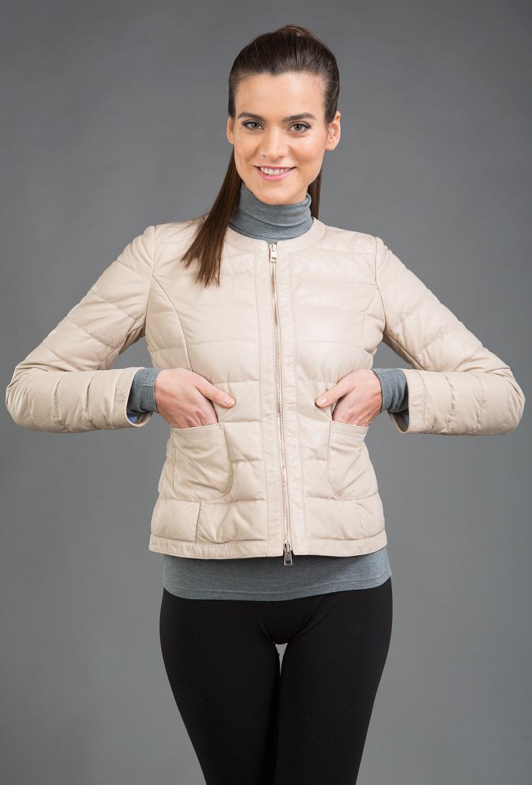 Бежевая стеганая кожаная куртка AFG. Производитель: AFG, артикул: 9622