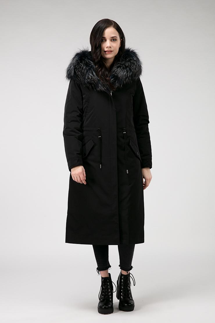 Пальто утепленное верблюжьей шерстью с чернобуркой фото