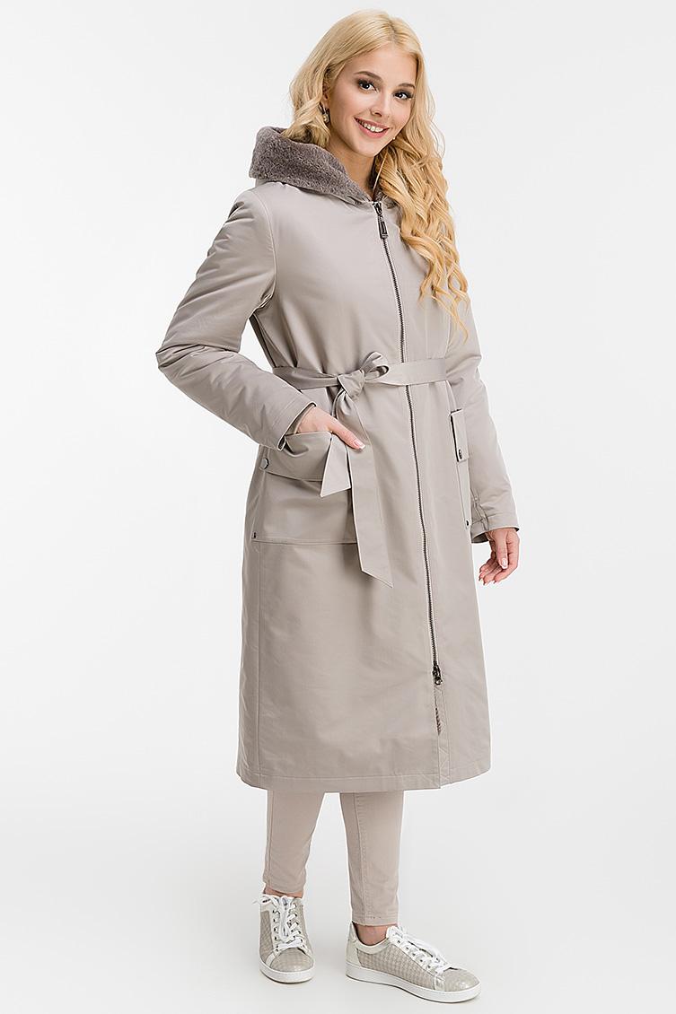 Длинное женское пальто на овчине с капюшоном фото