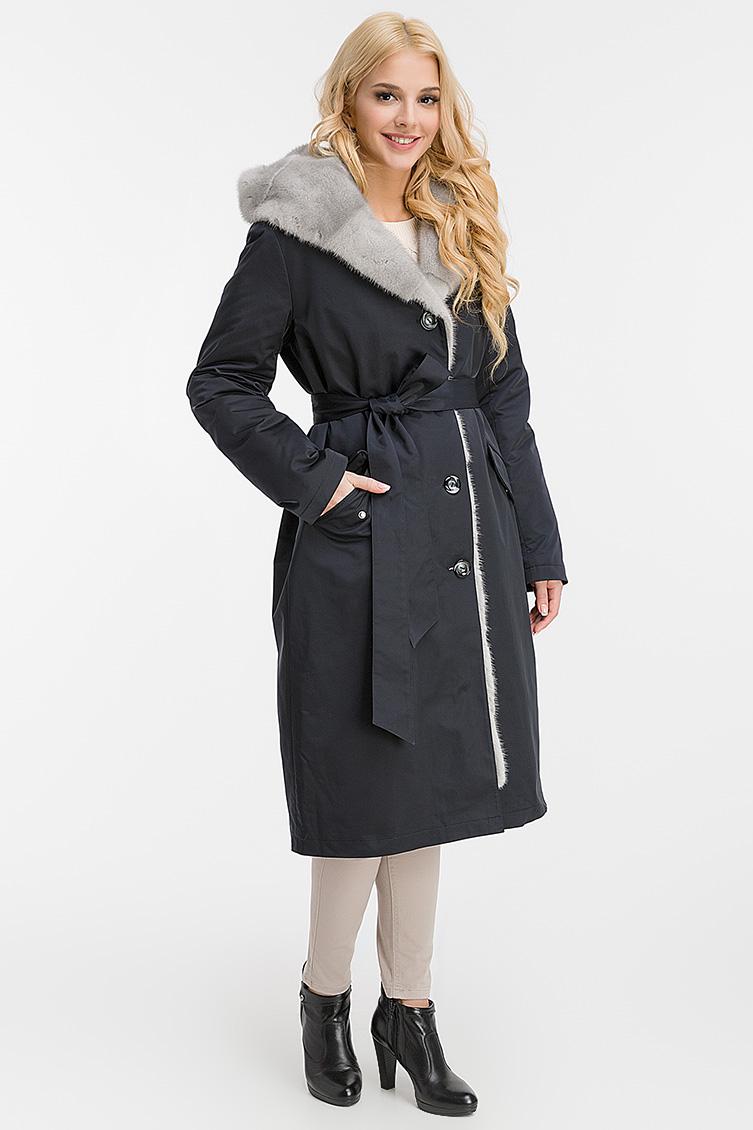 Классическое зимнее пальто на кролике с капюшоном фото