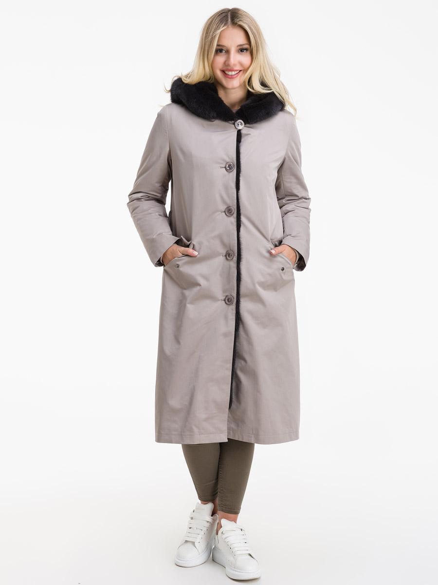 Стильное пальто на кроличьей подстежке для большого размера фото