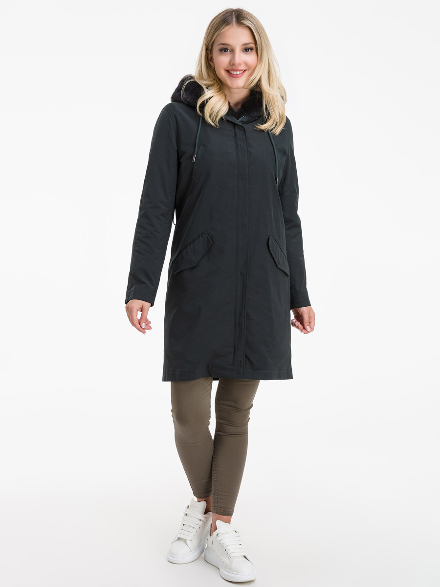 Пальто на меху до колена с теплым капюшоном фото