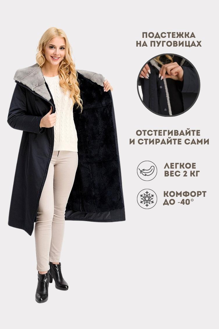 Зимнее пальто с норковым капюшоном фото
