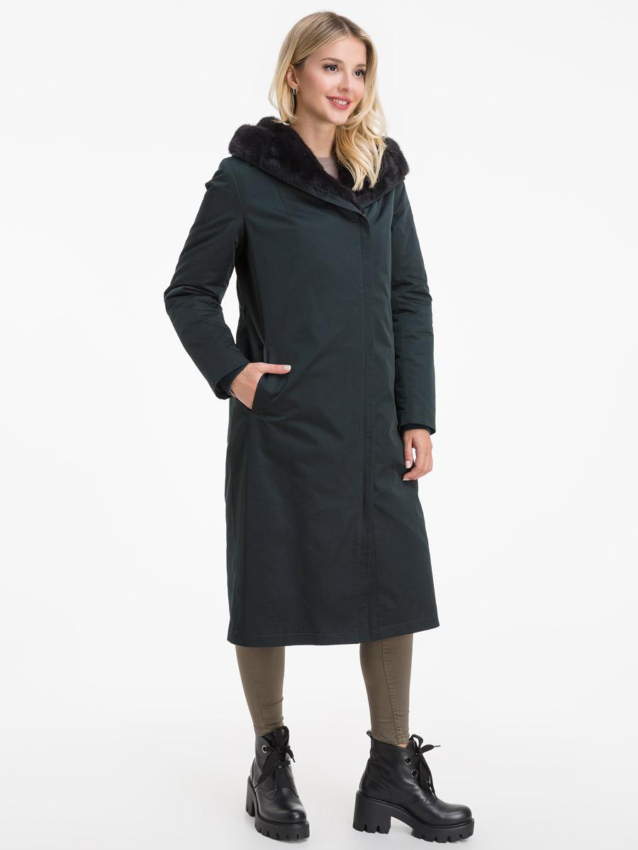 Итальянское зимнее пальто на меху бобра фото