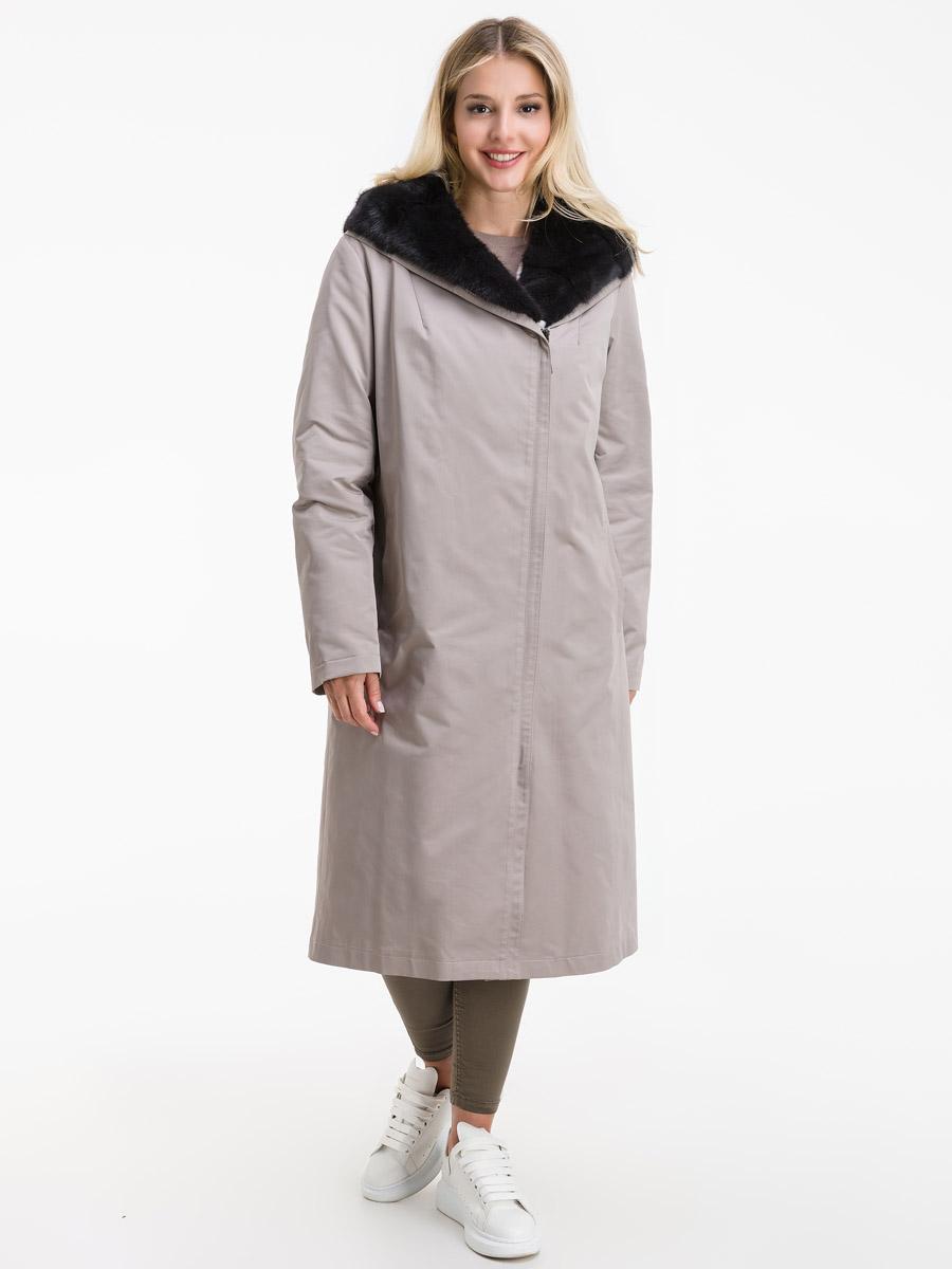 Женское пальто на меху для зимы с норкой на капюшоне фото