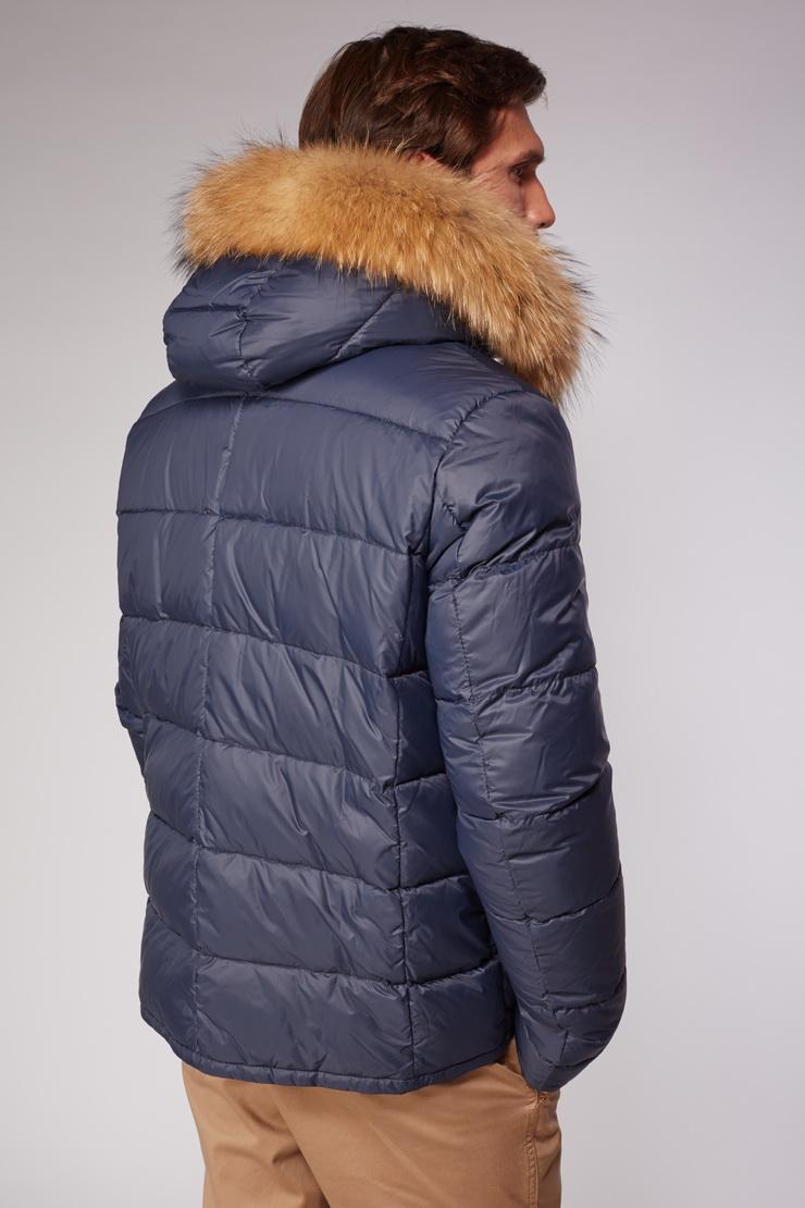 Мужская зимняя пуховая куртка с мехом