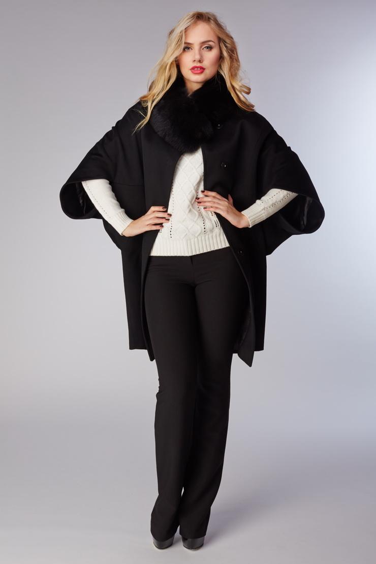 Черное женское пальто Heresis с прорезными рукавами S11/H04-черный