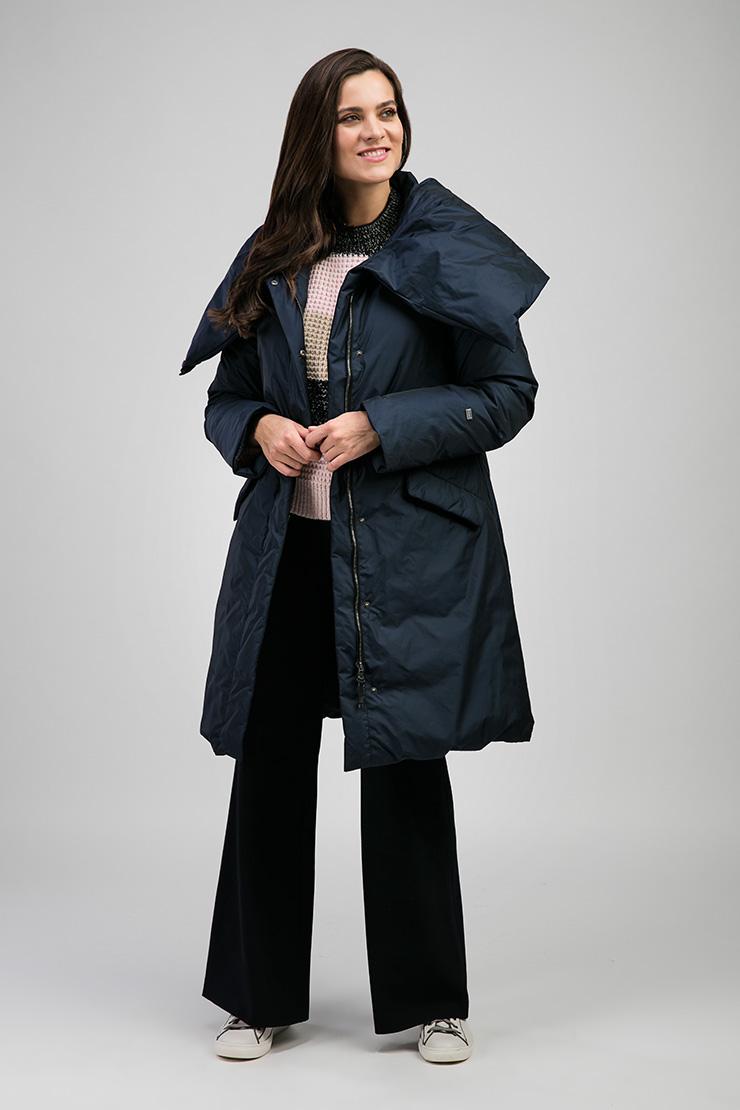 Модный женский пуховик Joutsen с большим воротником-стойкой SARINA/PE35-темно-синий