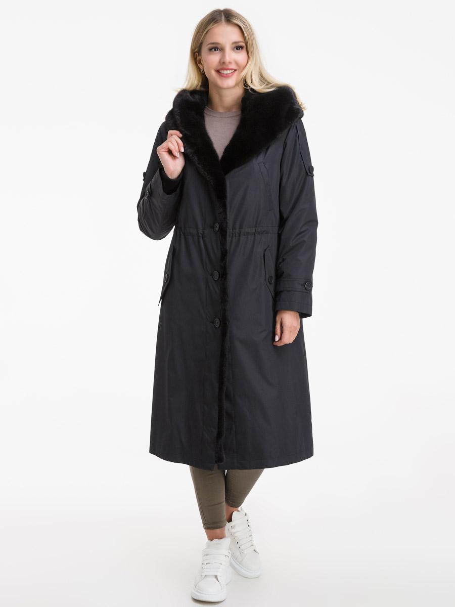 Длинное женское пальто на кролике фото