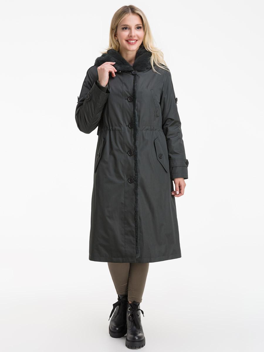 Зимнее стильное пальто на меху кролика с норкой фото