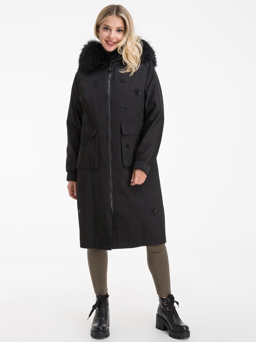 Женское длинное пальто на меху кролика с капюшоном фото