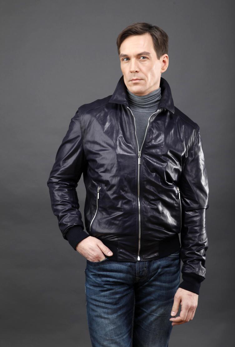 Короткая мужская кожаная куртка AFG синего цвета. Производитель: AFG, артикул: 6504