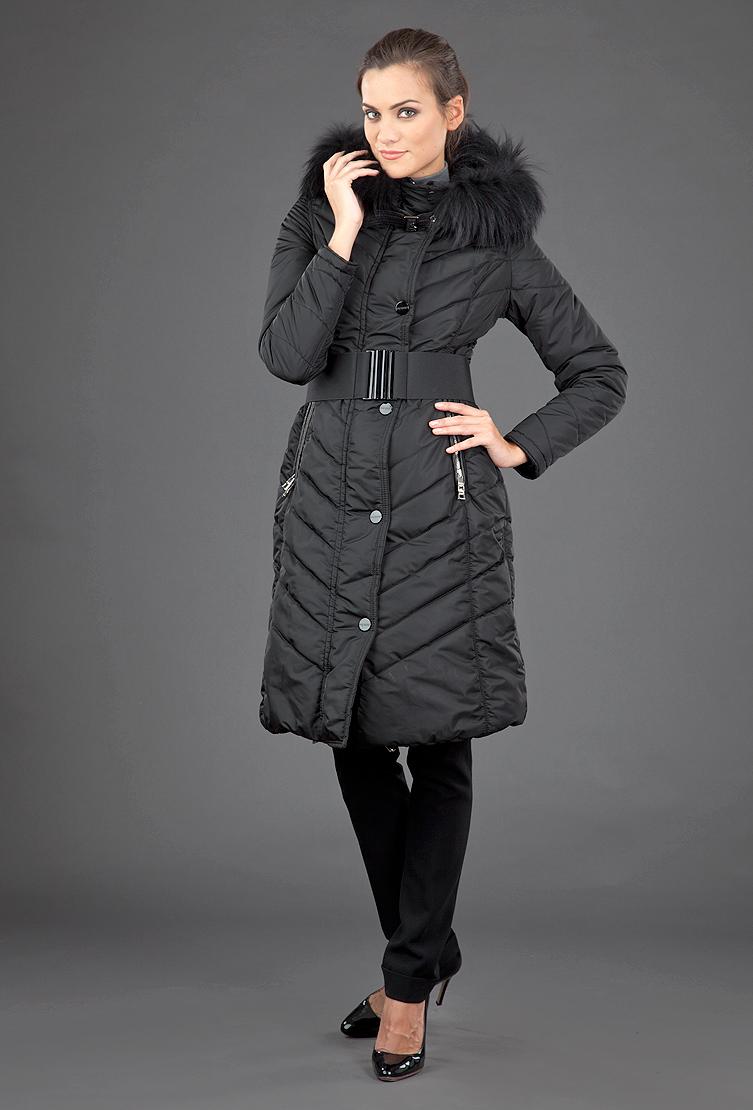 Приталенное теплое пальто FLO-CLO с отстегивающимся мехом Silvia_2/C21-черный