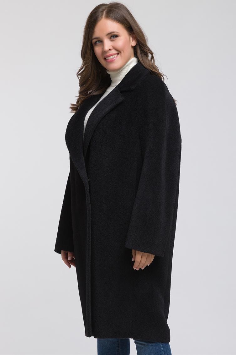 Классическое пальто из альпака на большой размер