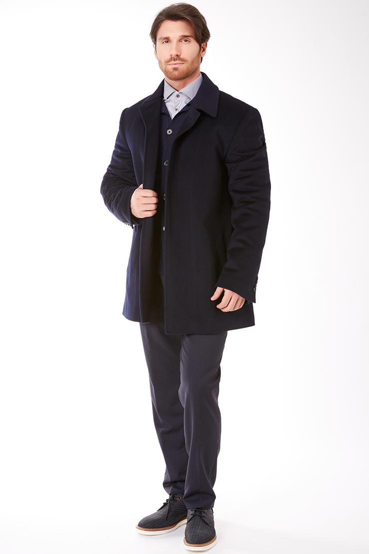 Итальянское пальто Heresis с супатной застежкой и глухим воротником T102/H01B-темно-синий