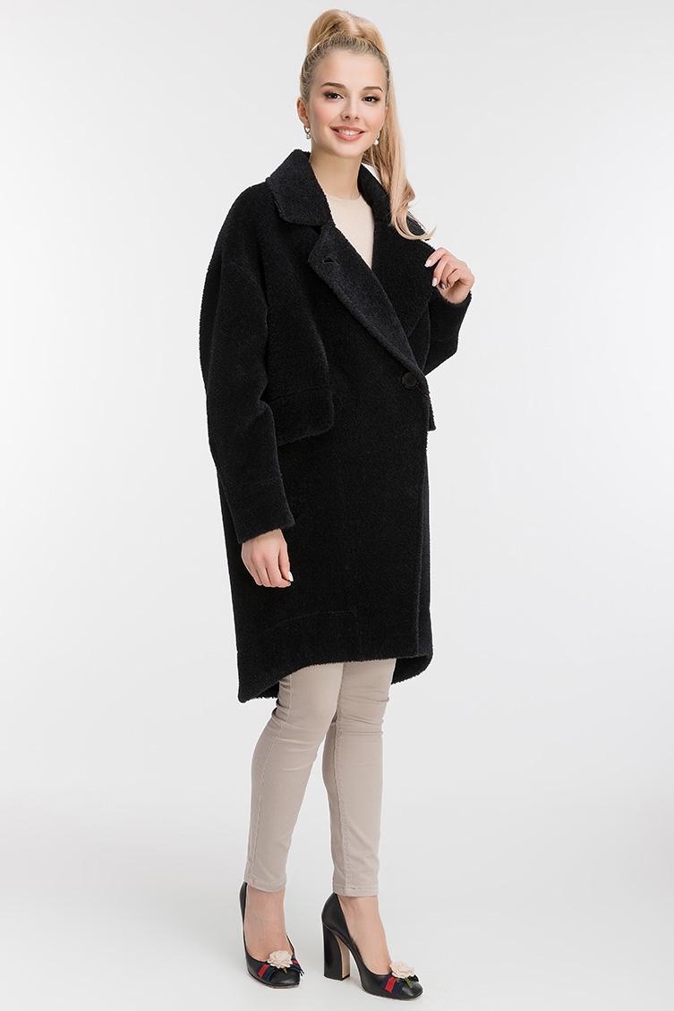 Пальто кокон из альпака с асимметричным подолом фото