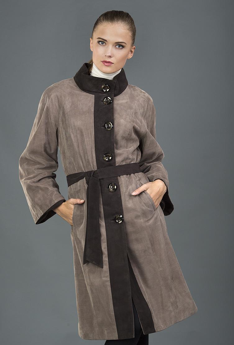 Коричневый кожаный плащ VESUTTI большого размера V-384/V01-коричневый
