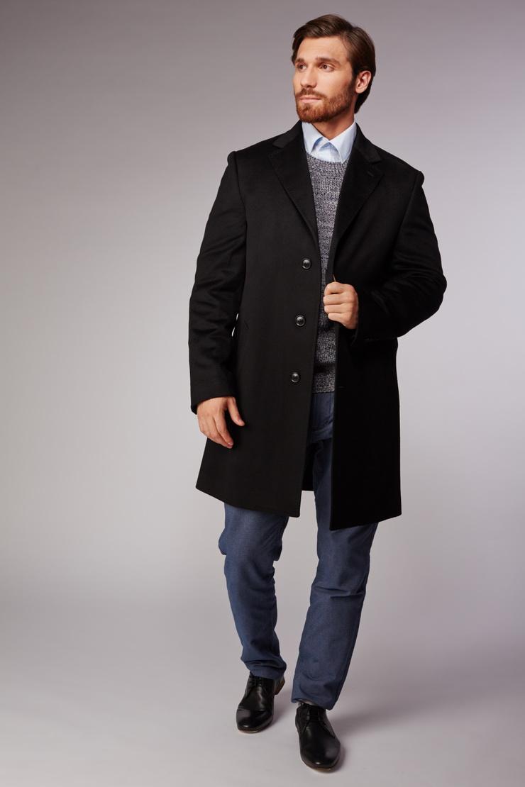 Мужское молодежное пальто из кашемира средней длиныПальто<br>Мужское молодежное пальто из кашемира средней длины<br>Цвет: черный; Размер: 56; Состав: 100% кашемир, подкладка 100% вискоза; Материал: 100% кашемир, подкладка 100% вискоза;