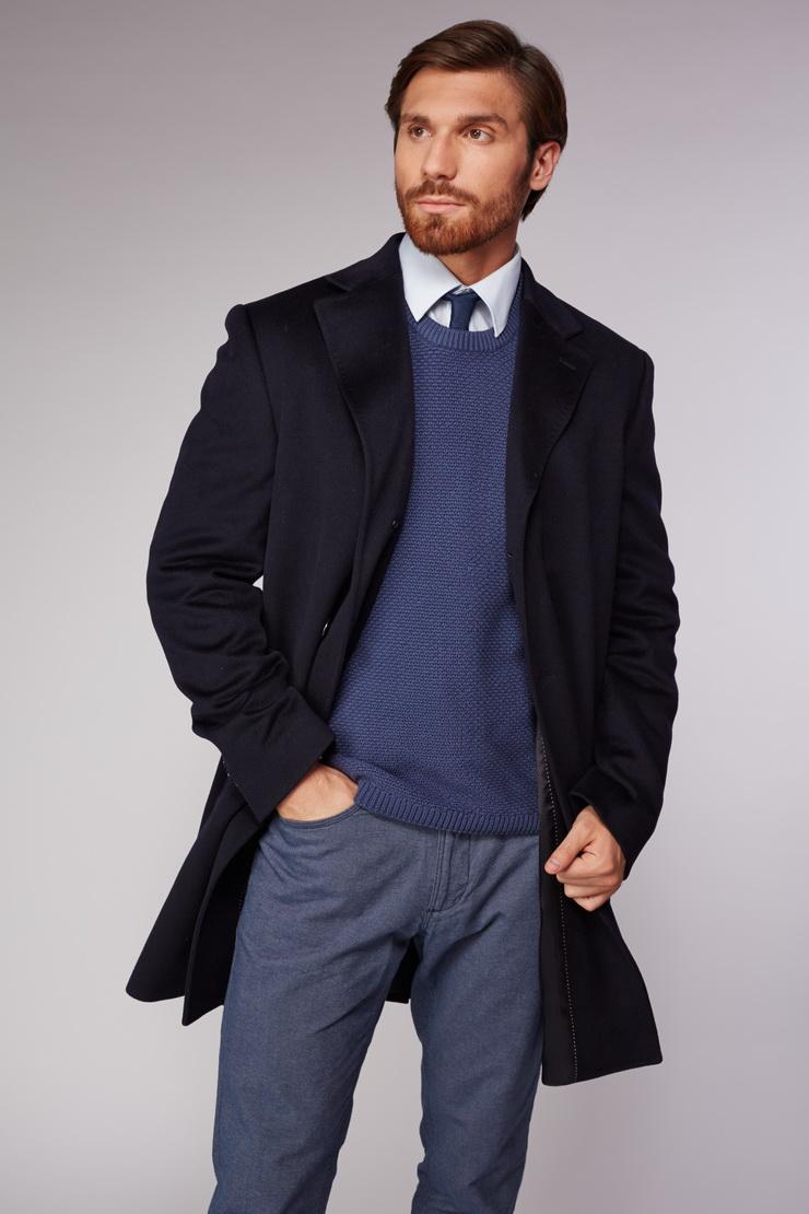 Мужское пальто Heresis темно-синего цвета V101/H01-темно-синий