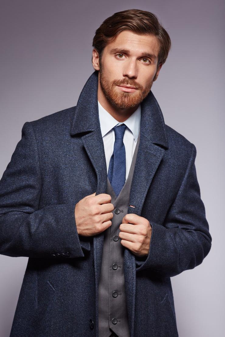 Мужское приталенное пальто Heresis из шерсти Loro Piana V202/H19-сине-черный