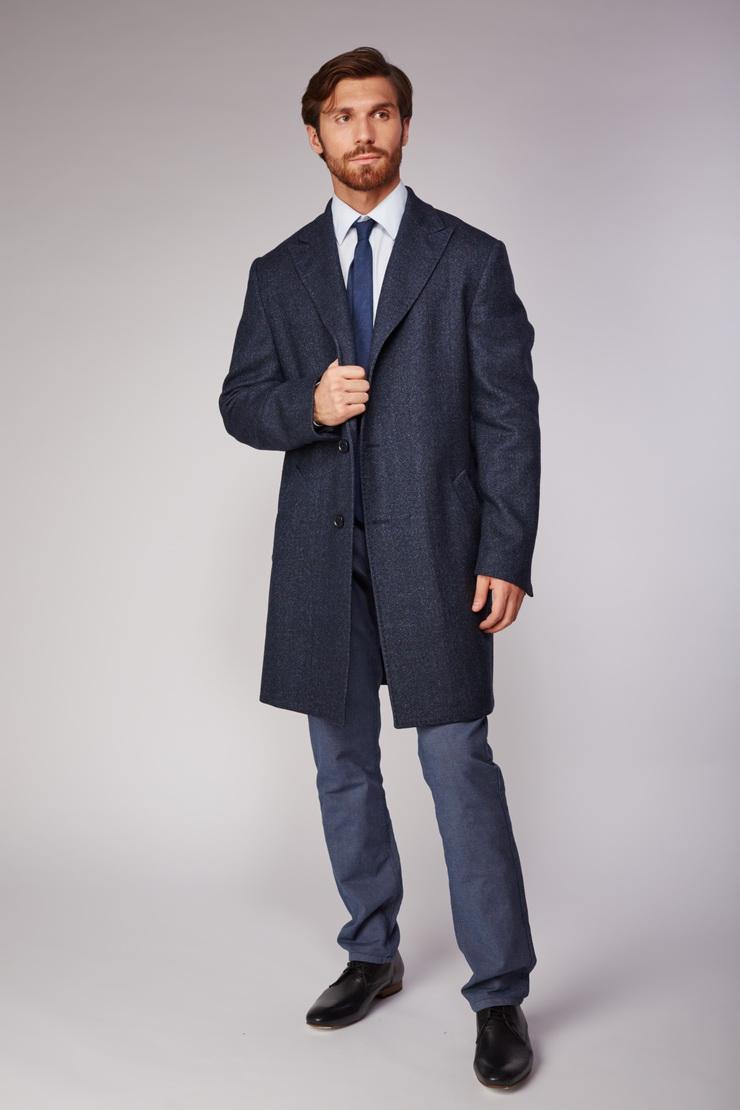 Классическое мужское пальто Heresis из шерсти меланж V303/H19-сине-черный