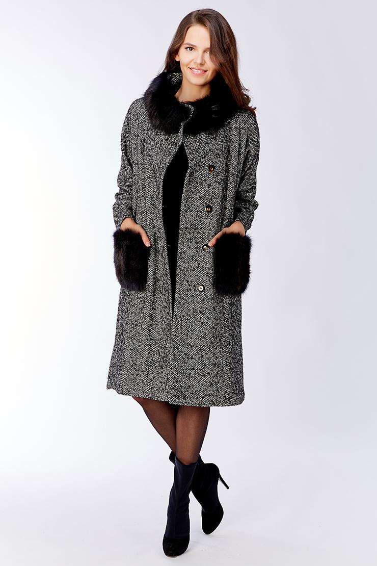 Двухцветное пальто для женщин Visconf/Violanti с мехом. Производитель: Visconf/Violanti, артикул: 22588