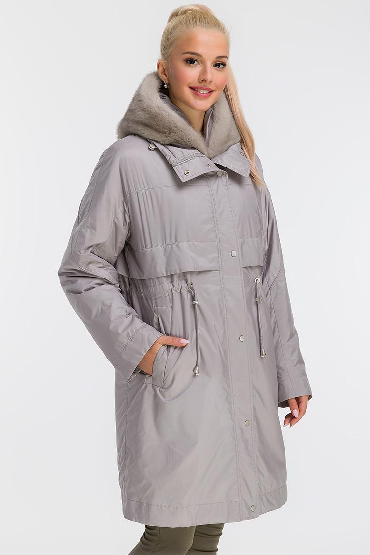 Пальто на меху средней длины с цельнокроеным рукавом фото