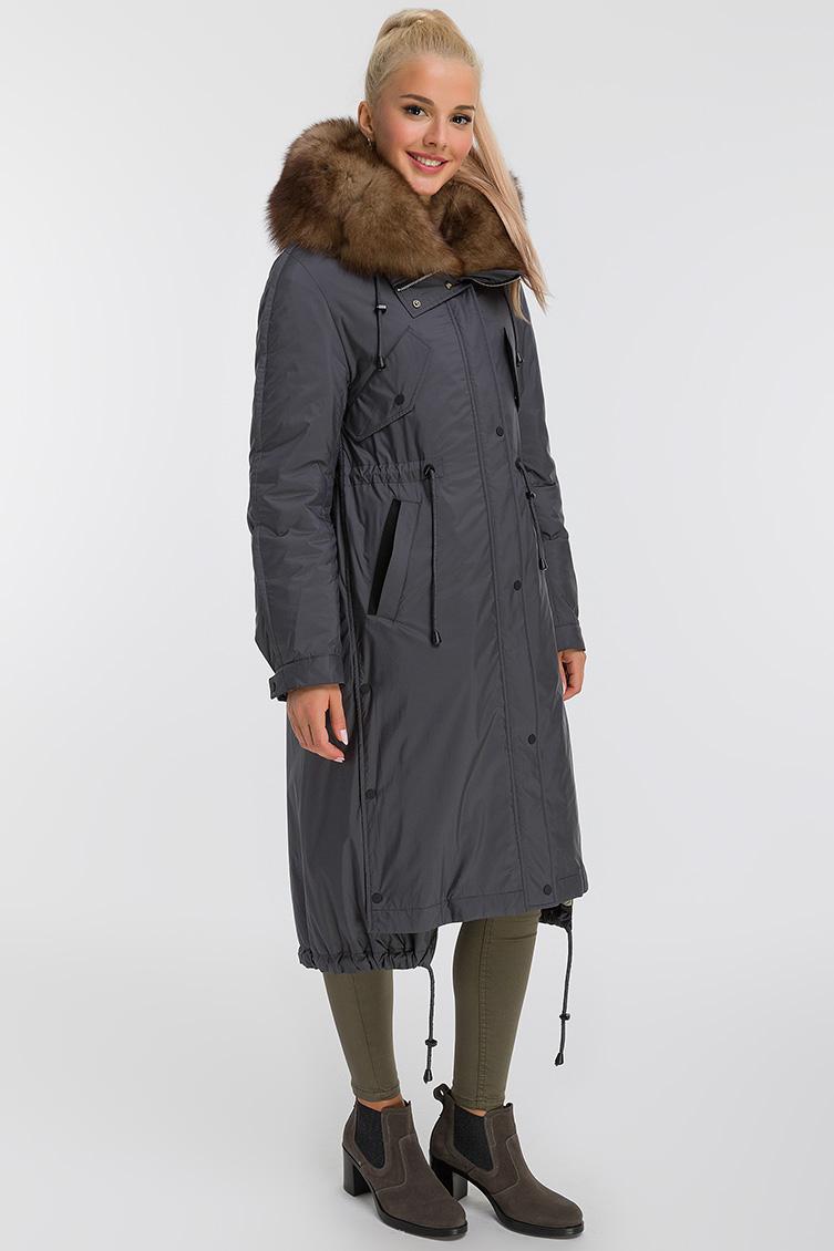 Длинное молодежное пальто на меху из Италии фото