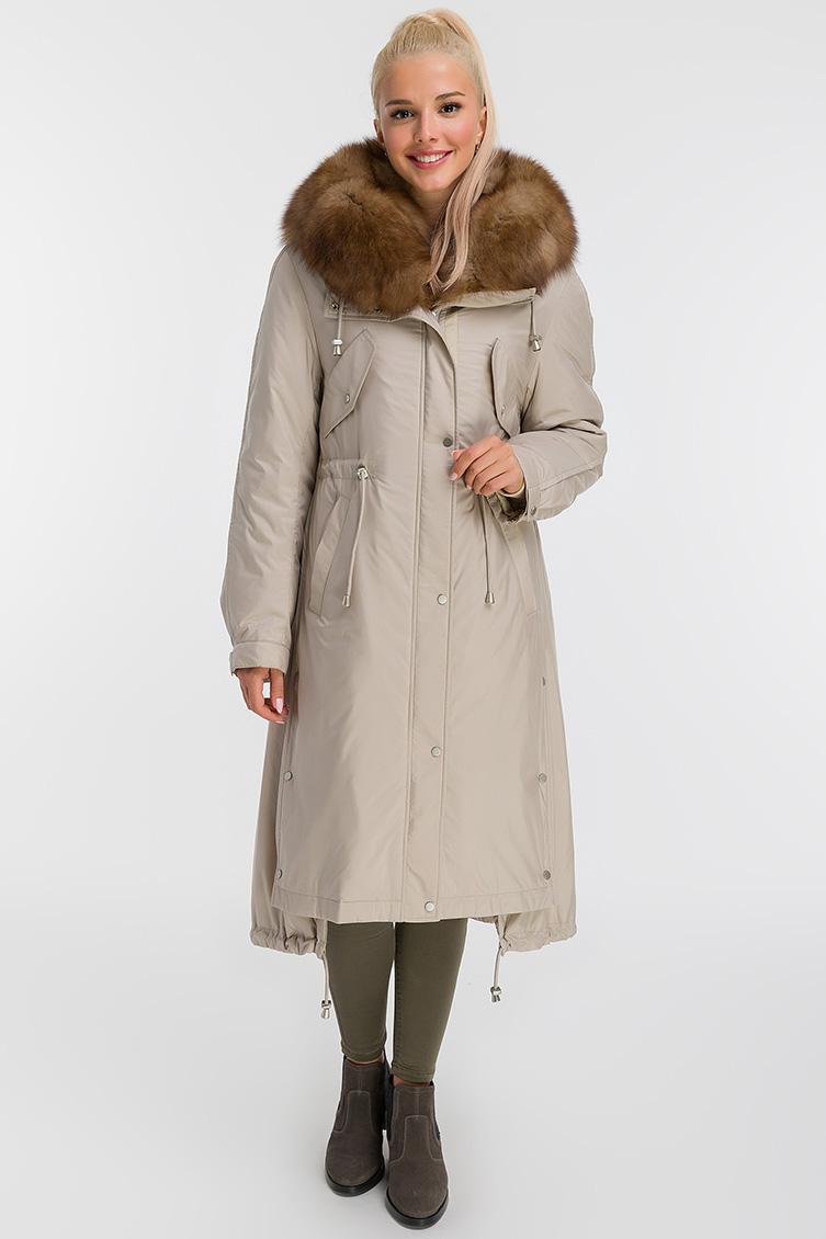 Итальянское длинное пальто на меху фото