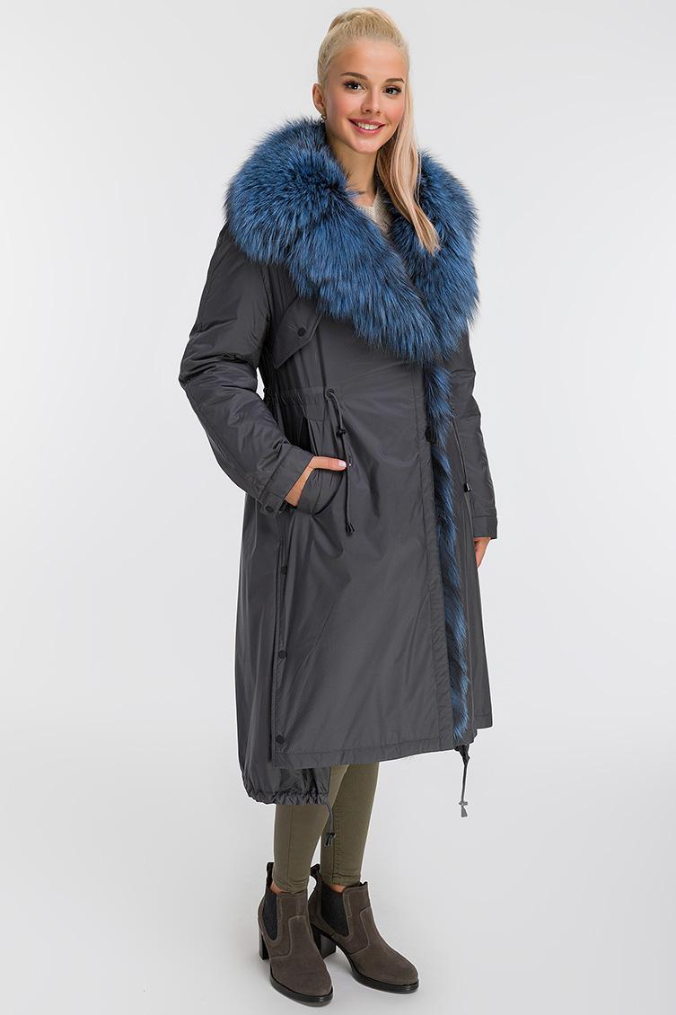 Расклешенное пальто на меху с меховым воротником фото