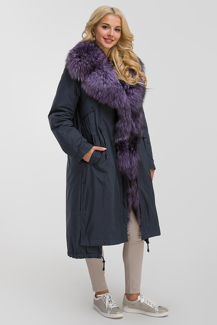 Стильное женское пальто на меху чернобурки из Италии фото