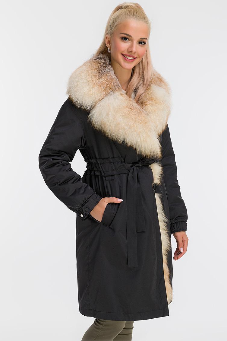 Пальто на кролике с меховым воротником из лисы фото