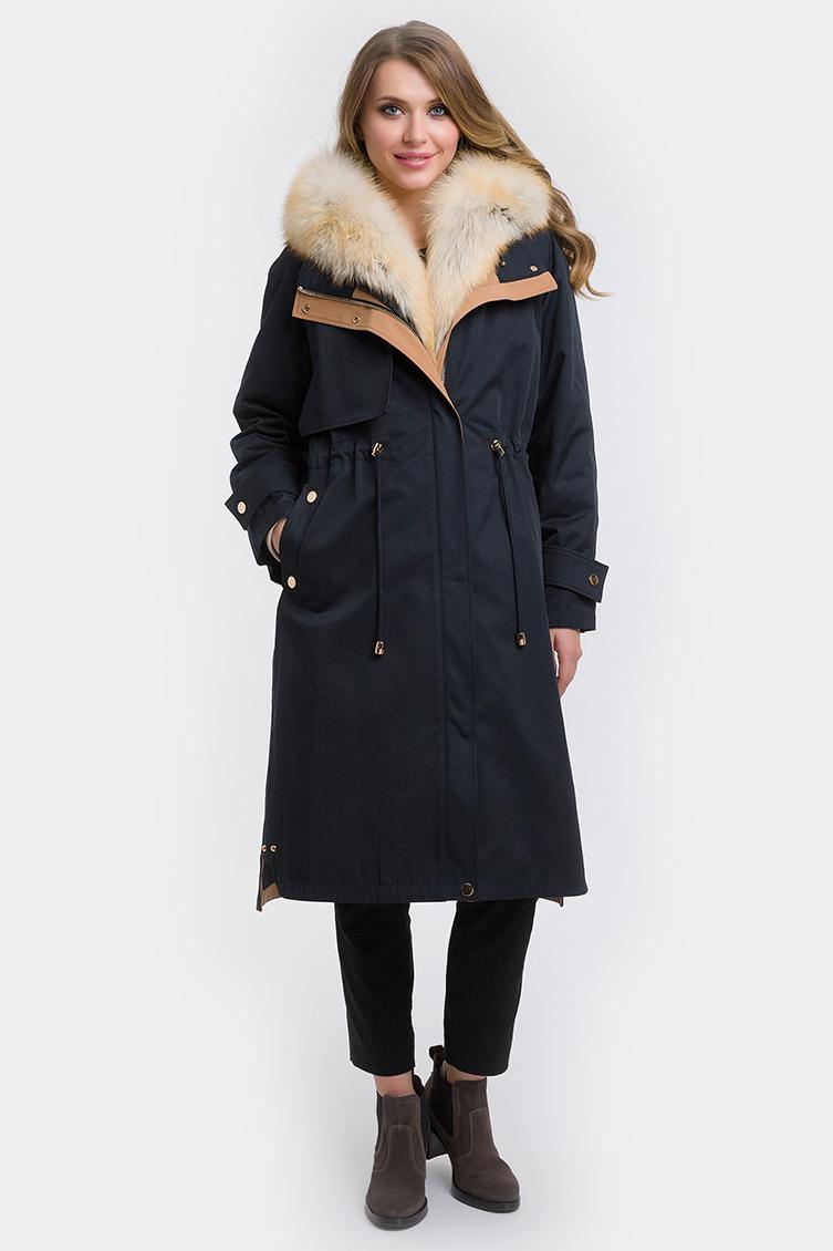 Зимнее пальто парка с лисой