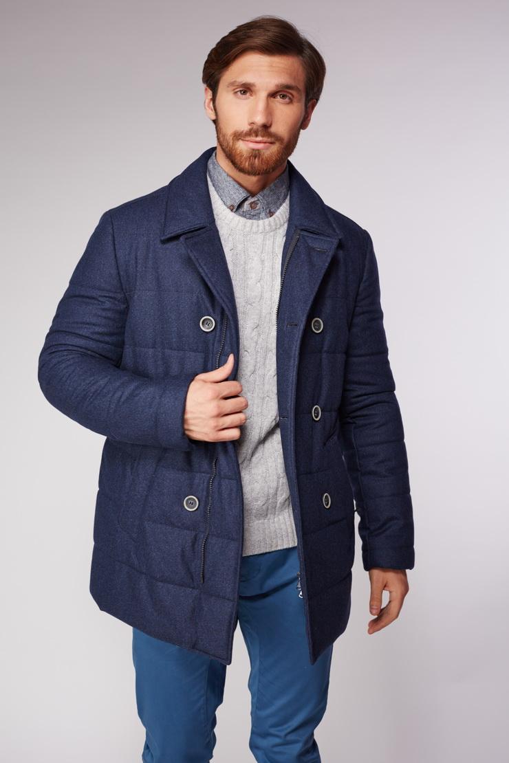 Прямое стёганное мужское пальто из шерсти Heresis Z605/H18-синий