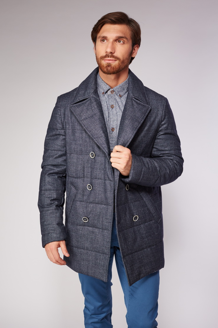 Короткое мужское пальто прямого фасонаПальто<br>Короткое мужское пальто прямого фасона<br>Цвет: синий; Размер: 50, 52; Состав: 72% шерсть, 13% щелк, 12% лен, 3% кашемир. StormSystem. подкладка 100% вискоза; Материал: 72% шерсть, 13% щелк, 12% лен, 3% кашемир. StormSystem. подкладка 100% вискоза;