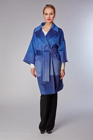 Шерстяное пальто Teresa Tardia синего цвета