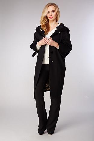 Черное женское пальто Teresa Tardia из шерсти LoroPiana