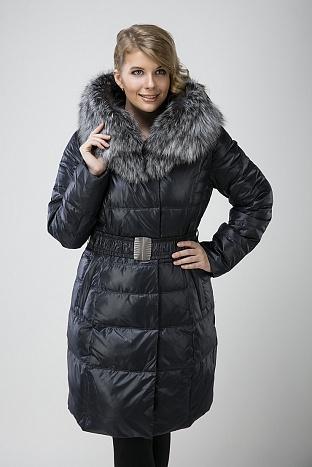 Женский пуховик Chiago синего цвета с чернобуркой
