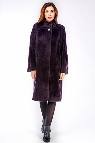 Фиолетовое пальто на высокий рост с воротником-стойкой