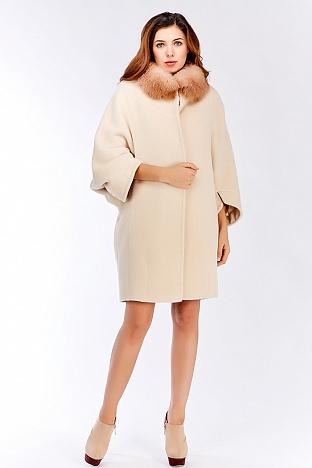 """Модное пальто кокон из альпака с рукавами """"летучая мышь"""""""