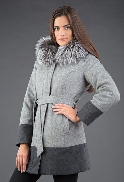 ac01db25232 Зимнее шерстяное пальто с капюшоном ...