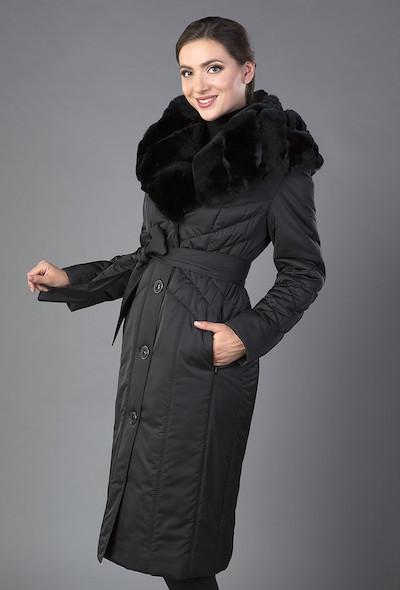 Женское пальто с меховым воротником спб