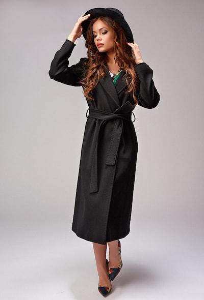 ad15a760d74 Длинное черное пальто Teresa Tardia с английским воротником ...
