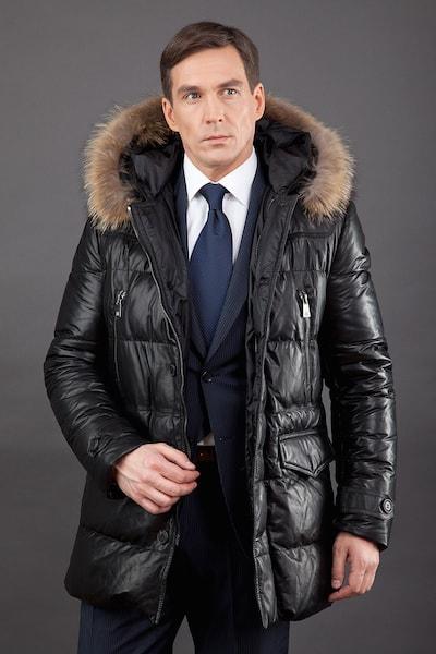 3a5ca86682d6 Кожаный зимний мужской пуховик AFG с мехом енота ...