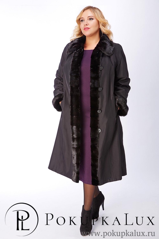90b5d4f649c Черное пальто на меху с норковой отделкой